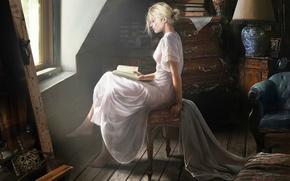 Wallpaper book, profile, sitting, reads, window, girl, room