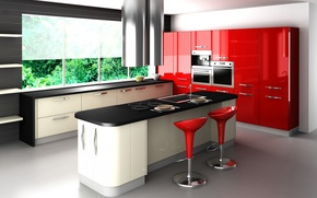 Wallpaper red, style, chairs, table, window, headsets, kitchen
