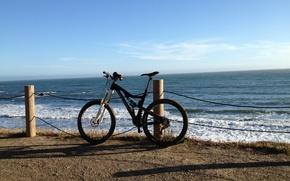 Picture sea, bike, shore, bike, halt