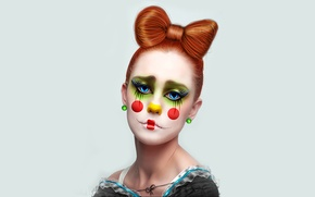 Picture girl, earrings, clown, red hair, bow, seams, Clown