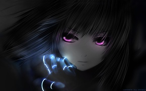 Picture eyes, girl, pink, black, anime, Battle Angel Alita