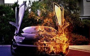 Wallpaper car, fire, lamborghini, burning