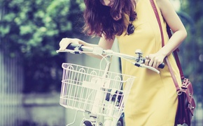 Picture girl, bike, smile, background, basket, mood, dress, brunette, glasses, yellow, HD wallpapers, oboe for your ...