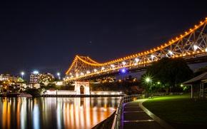 Picture night, bridge, lights, river, home, Australia, lights, promenade, Brisbane