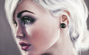 Picture look, girl, face, beauty, art, lips, white hair