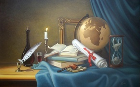 Picture pen, books, candle, tube, still life, globe, hourglass, ink
