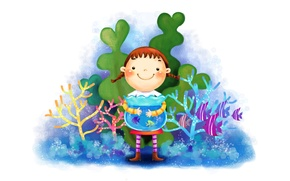 Picture smile, figure, aquarium, fish, girl