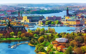 Picture trees, landscape, the city, river, home, boats, panorama, Sweden, bridges, Stockholm
