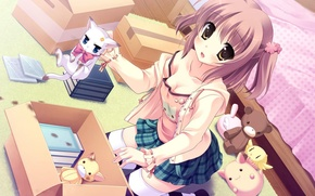 Picture chest, look, girl, kitty, room, bed, art, yukie, tsumugi
