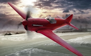 Picture aircraft, war, art, airplane, aviation, ww2, dogfight, russian fighter, Yak 3, drawning