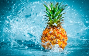 Wallpaper water, fruit, pineapple