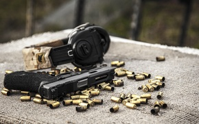 Picture gun, weapons, headphones, sleeve, Glock, Austrian, self-loading