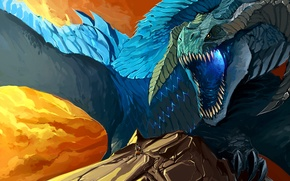 Picture dragon, mountain, monster, art
