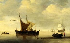 Picture sea, the sky, landscape, boat, ship, sailboat, picture, sail, fishermen