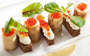 Picture oil, bread, sandwich, pancakes, red caviar, appetizer