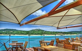 Picture sea, Cafe, tent