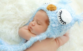 Picture owl, child, baby, sleeping, cap, baby, blue