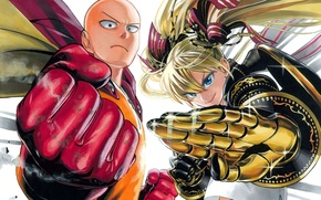 Picture girl, anime, bald, gloves, cloak, two, stand, One Punch Man