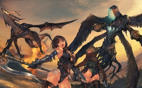 Picture girl, mountains, fire, flame, dragon, the game, wings, armor, anime, plain, leather, warrior, dagger, fire, …