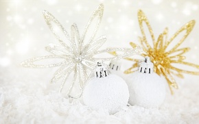 Picture white, balls, decoration, holiday, Shine, new year, gold plated, Christmas decorations, Wallpaper from lolita777