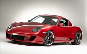 Picture red, coupe, Porsche, cayman