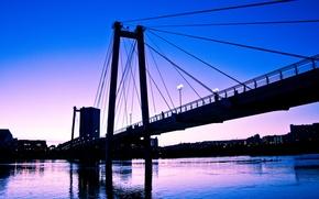 Picture the sky, sunset, bridge, the city, river, blue, pink, purple, Krasnoyarsk, Enisey