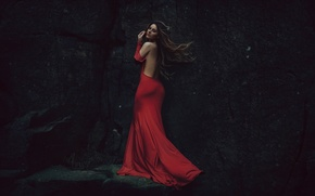 Picture rock, the wind, stone, in red, Lady Lazarus
