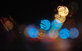 Picture glass, drops, night, lights
