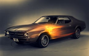 Wallpaper retro, 1972 ford mustang, fire