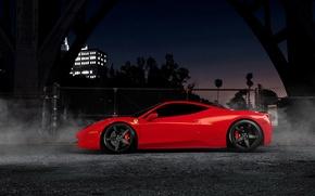 Picture night, supercar, Ferrari, red, Ferrari 458 Italia