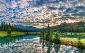 Picture trees, landscape, sunset, mountains, lake, Banff National park
