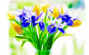 Wallpaper flowers, Tulip, bouquet, iris