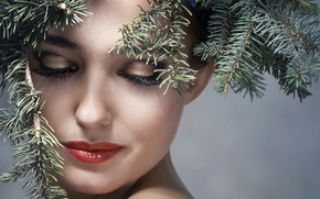 Picture girl, branches, face, background, new year, makeup, hairstyle, beauty, coniferous, closeup