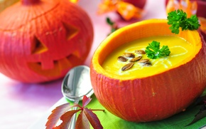Picture holiday, soup, Halloween, pumpkin, Halloween, seeds, parsley