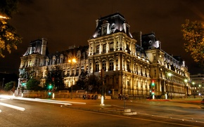Picture road, trees, night, France, Paris, the building, lights, capital