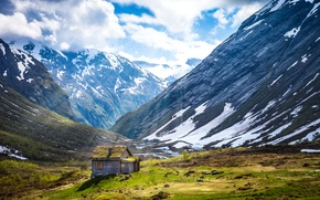 Picture snow, mountains, plain, house, Norway