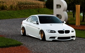 Picture bmw, BMW, turbo, white, wheels, gold, tuning, power, front, face, germany, low, e92, people, stance