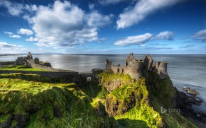 Picture sea, the sky, rock, the ruins, ruins, Northern Ireland, Antrim County, Dunluce Castle