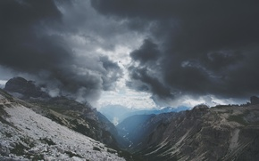 Picture clouds, mountains, clouds, river, overcast, the atmosphere, gorge