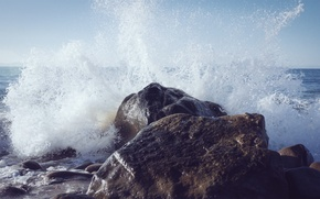 Picture squirt, rock, shore, stone, wave, surf