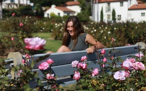 Picture girl, flowers, bench, smile, laughter