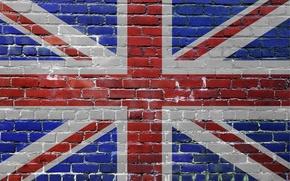 Picture flag, bricks, UK, united kingdom