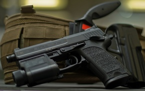 Picture Germany, knife, holster, USP, Tactical, .40 S&W, self-loading pistol, Heckler&Koch, the possibility of using a …