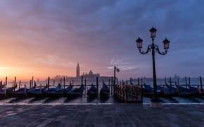 Picture home, morning, Venice, channel, promenade, gondola