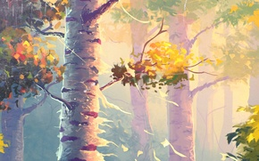 Picture Nature, Autumn, Trees, Painting, Birch