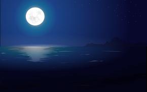 Picture sea, stars, landscape, night, the moon, art