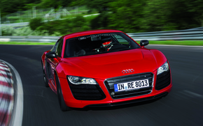 Picture Red, Machine, The hood, Racer, Lights, Audi R8, Driver, V10