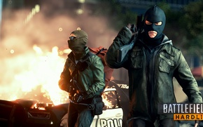 Picture the explosion, weapons, the game, online, Battlefield Hardline; terrorists
