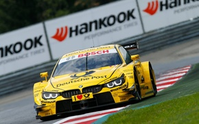 Picture grass, asphalt, yellow, bmw, BMW, track, the fence, the curb, dtm, DTM, timo glock, Timo …