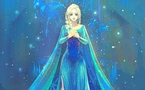 Picture girl, dress, art, Frozen, Elsa, Elsa, Cold heart